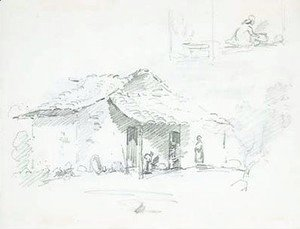 Figures in front of a hut, with studies of two figures cooking