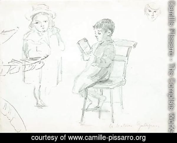 A seated boy reading, with a boy in a hat and study of a face