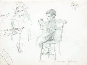 Camille Pissarro - A seated boy reading, with a boy in a hat and study of a face
