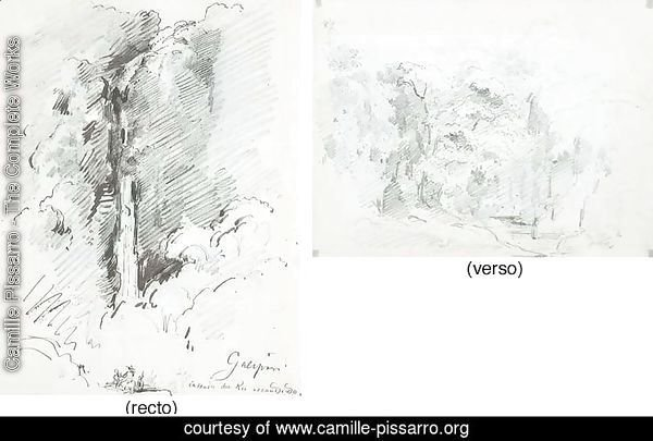 The waterfalls of the Rio Escondido at Galipan, with studies of figures (recto)|A forest in the mountains (verso)