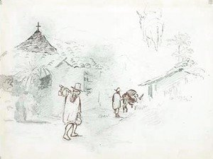 Camille Pissarro - Two huts in the mountains, with a man leading a donkey