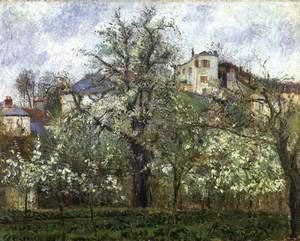 Spring at Pontoise, Vegetable Garden and Trees in Blossom