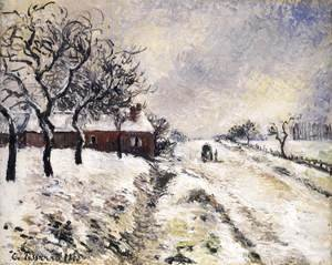 Camille Pissarro - Snow Effect at Eragny, Road to Gisors