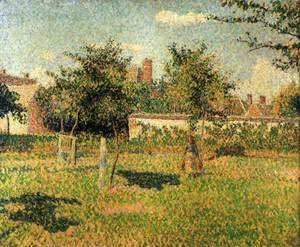 Camille Pissarro - Woman in the Orchard. Spring Sunshine in a Field, Eragny