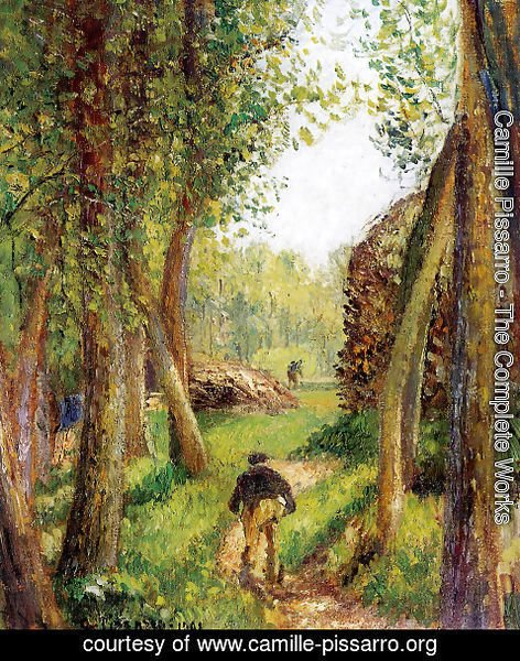 Camille Pissarro - Forest scene with two figures