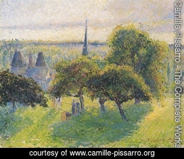 Camille Pissarro - Farm and Steeple at Sunset