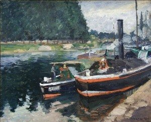Camille Pissarro - Barges on Pontoise