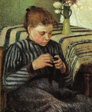 Girl Sewing 1895