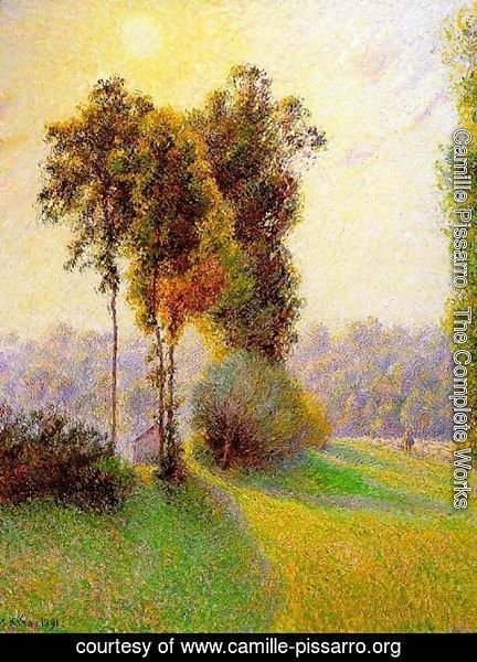 Camille Pissarro - Sunset at St. Charles, Eragny 1891
