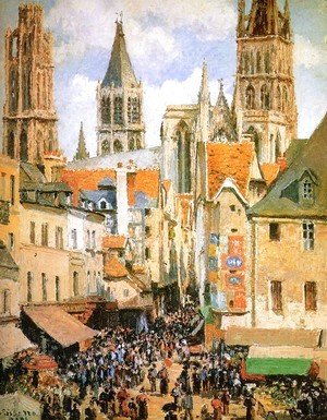 Camille Pissarro - The Old Market at Rouen  1898